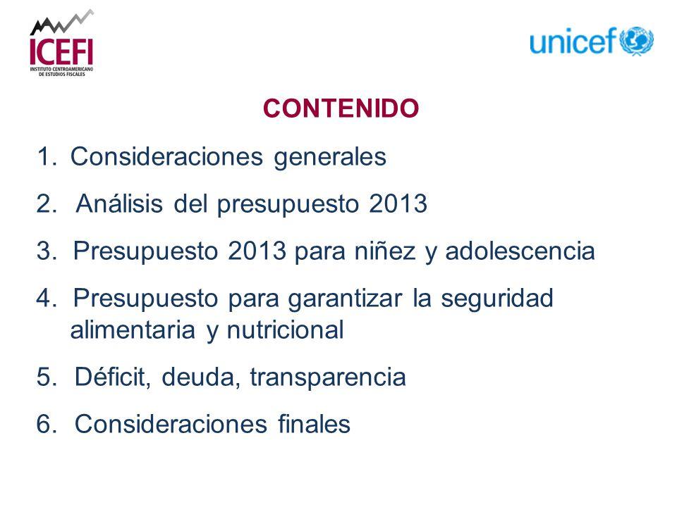 CONTENIDO 1.Consideraciones generales 2. Análisis del presupuesto 2013 3.