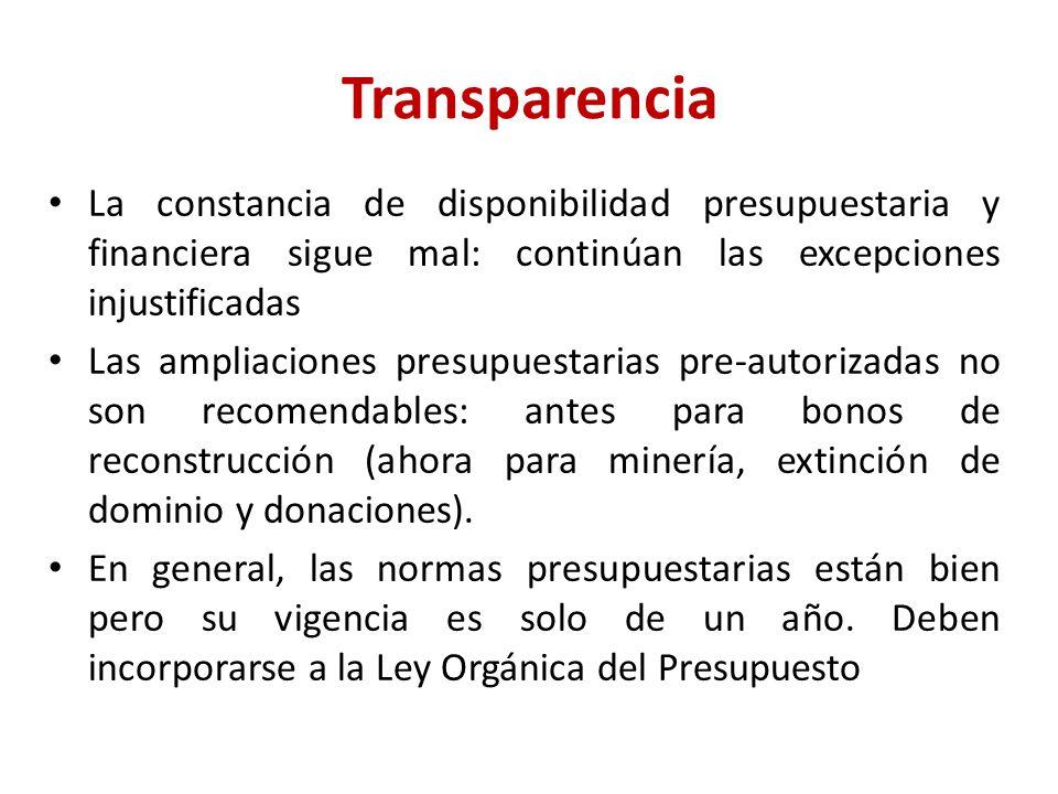 Transparencia La constancia de disponibilidad presupuestaria y financiera sigue mal: continúan las excepciones injustificadas Las ampliaciones presupuestarias pre-autorizadas no son recomendables: antes para bonos de reconstrucción (ahora para minería, extinción de dominio y donaciones).