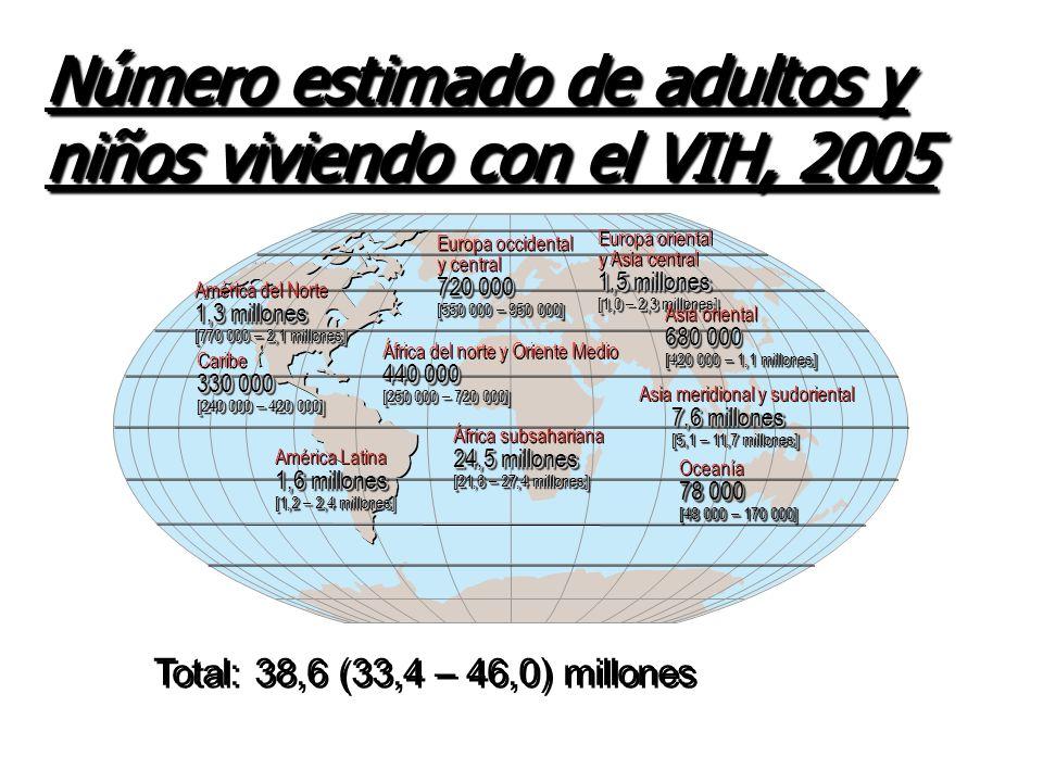 Personas que vivían con el VIH -- 38,6 millones [33,4 – 46,0 millones] Nuevas infecciones por el VIH en 2005 --- 4,1 millones [3,4 – 6,2 millones] Defunciones por causa del SIDA en 2005 ----- 2,8 millones [2,4 – 3,3 millones] Personas que vivían con el VIH -- 38,6 millones [33,4 – 46,0 millones] Nuevas infecciones por el VIH en 2005 --- 4,1 millones [3,4 – 6,2 millones] Defunciones por causa del SIDA en 2005 ----- 2,8 millones [2,4 – 3,3 millones] Estimaciones mundiales para niños y adultos, 2005 Estimaciones mundiales para niños y adultos, 2005