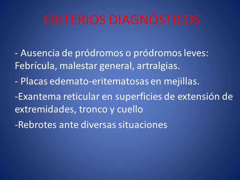 CRITERIOS DIAGNÓSTICOS - Ausencia de pródromos o pródromos leves: Febrícula, malestar general, artralgias. - Placas edemato-eritematosas en mejillas.