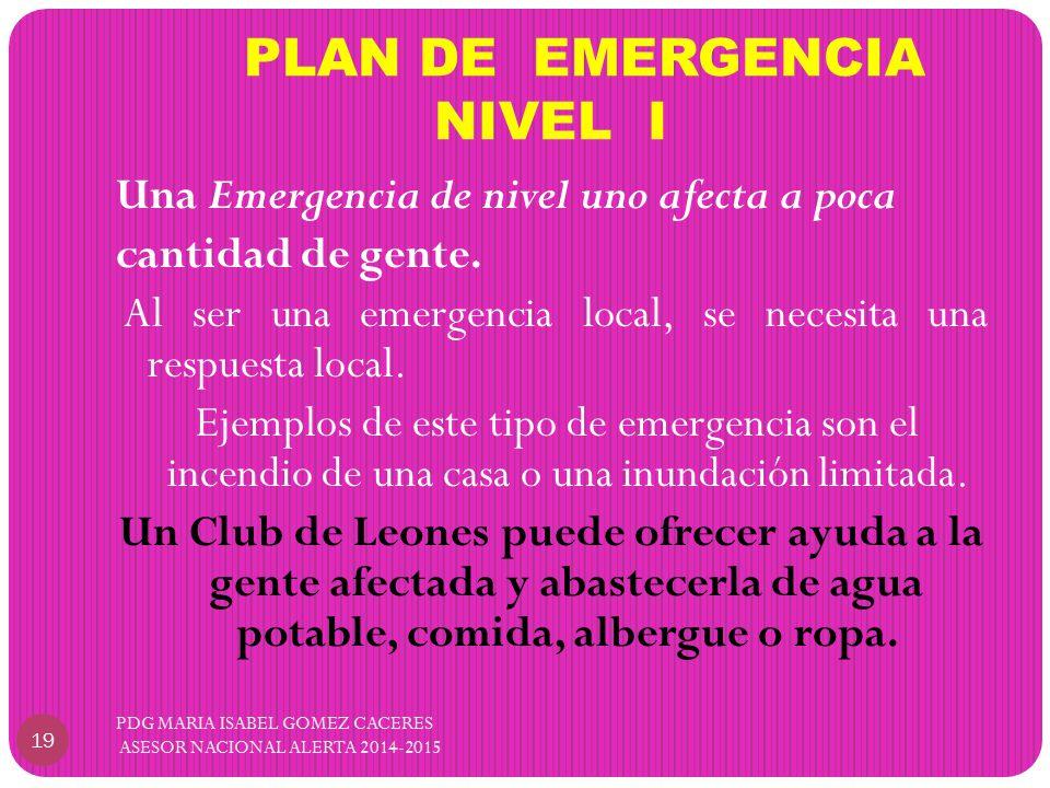 PLAN DE EMERGENCIA NIVEL I Una Emergencia de nivel uno afecta a poca cantidad de gente.