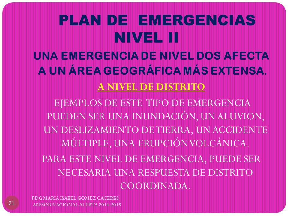 PLAN DE EMERGENCIAS NIVEL II UNA EMERGENCIA DE NIVEL DOS AFECTA A UN ÁREA GEOGRÁFICA MÁS EXTENSA.