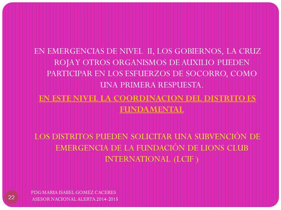 EN EMERGENCIAS DE NIVEL II, LOS GOBIERNOS, LA CRUZ ROJA Y OTROS ORGANISMOS DE AUXILIO PUEDEN PARTICIPAR EN LOS ESFUERZOS DE SOCORRO, COMO UNA PRIMERA RESPUESTA.