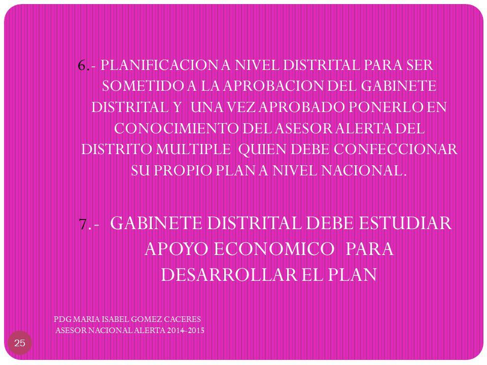 6.- PLANIFICACION A NIVEL DISTRITAL PARA SER SOMETIDO A LA APROBACION DEL GABINETE DISTRITAL Y UNA VEZ APROBADO PONERLO EN CONOCIMIENTO DEL ASESOR ALERTA DEL DISTRITO MULTIPLE QUIEN DEBE CONFECCIONAR SU PROPIO PLAN A NIVEL NACIONAL.