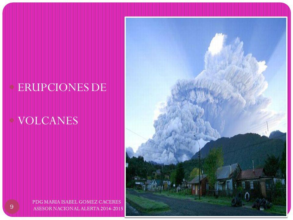 9 PDG MARIA ISABEL GOMEZ CACERES ASESOR NACIONAL ALERTA 2014-2015 ERUPCIONES DE VOLCANES