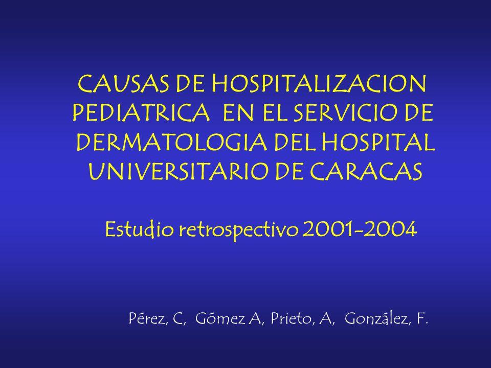 CAUSAS DE HOSPITALIZACION PEDIATRICA EN EL SERVICIO DE DERMATOLOGIA DEL HOSPITAL UNIVERSITARIO DE CARACAS Estudio retrospectivo 2001-2004 Pérez, C, Gómez A, Prieto, A, González, F.