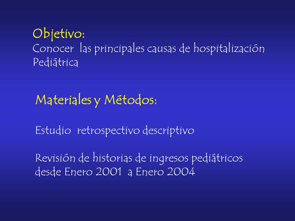 Objetivo: Conocer las principales causas de hospitalización Pediátrica Materiales y Métodos: Estudio retrospectivo descriptivo Revisión de historias de ingresos pediátricos desde Enero 2001 a Enero 2004