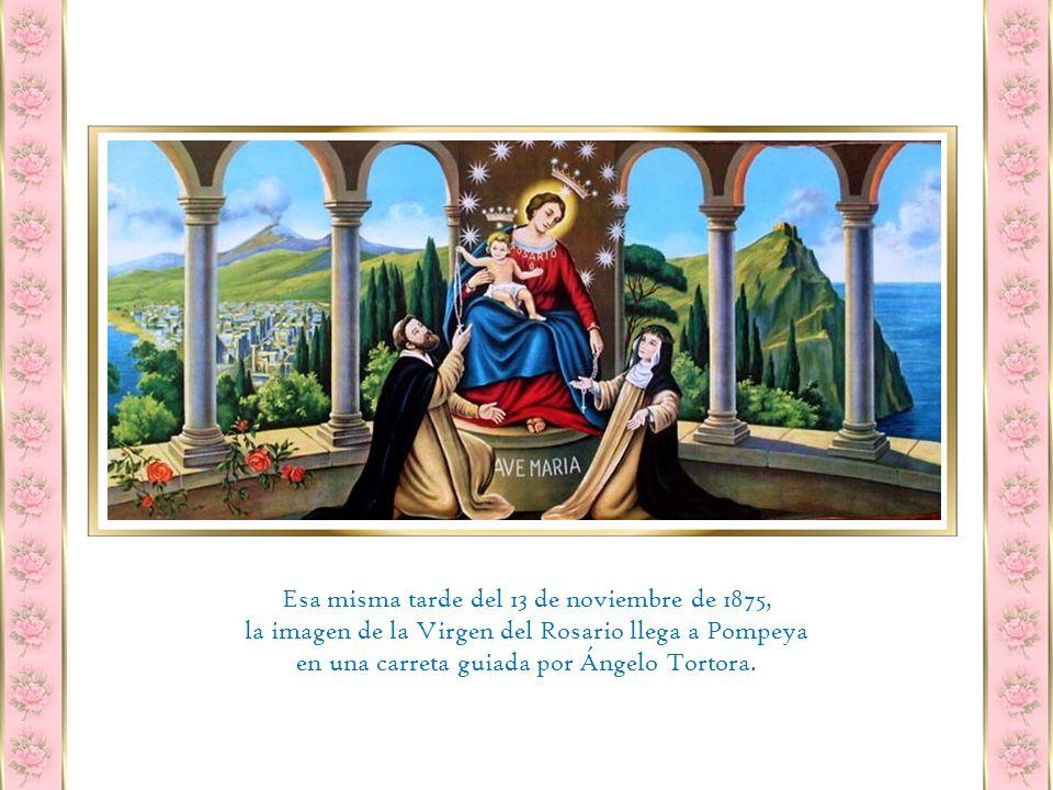 Una tela raída y vieja, faltándole rasgos de color, con Nuestra Señora entregando el Santo Rosario a Santo Domingo y Santa Rosa de Lima.
