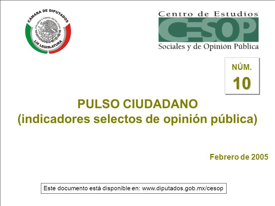 --1-- PULSO CIUDADANO (indicadores selectos de opinión pública) Febrero de 2005 10 NÚM.