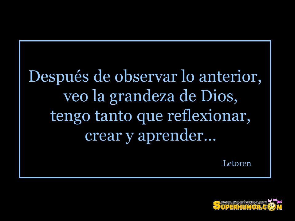 Después de observar lo anterior, veo la grandeza de Dios, tengo tanto que reflexionar, crear y aprender… Letoren