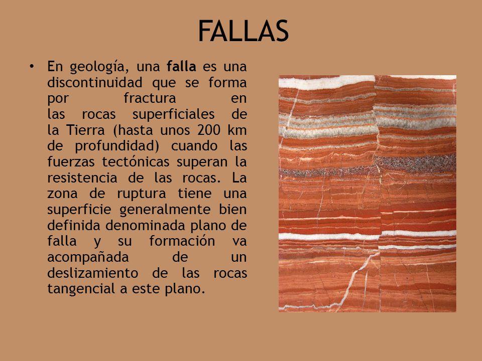 FALLAS En geología, una falla es una discontinuidad que se forma por fractura en las rocas superficiales de la Tierra (hasta unos 200 km de profundidad) cuando las fuerzas tectónicas superan la resistencia de las rocas.