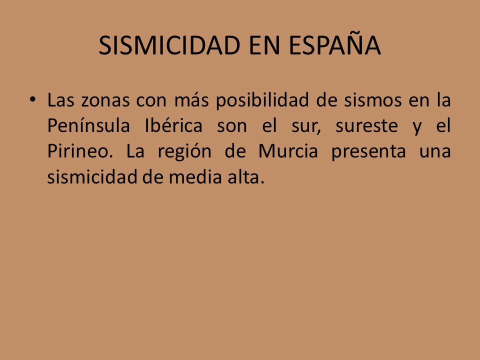 SISMICIDAD EN ESPAÑA Las zonas con más posibilidad de sismos en la Península Ibérica son el sur, sureste y el Pirineo.