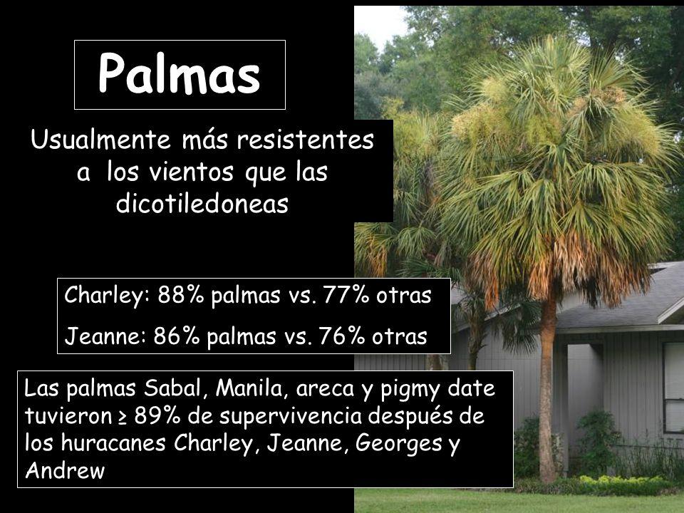 Charley: 88% palmas vs. 77% otras Jeanne: 86% palmas vs.