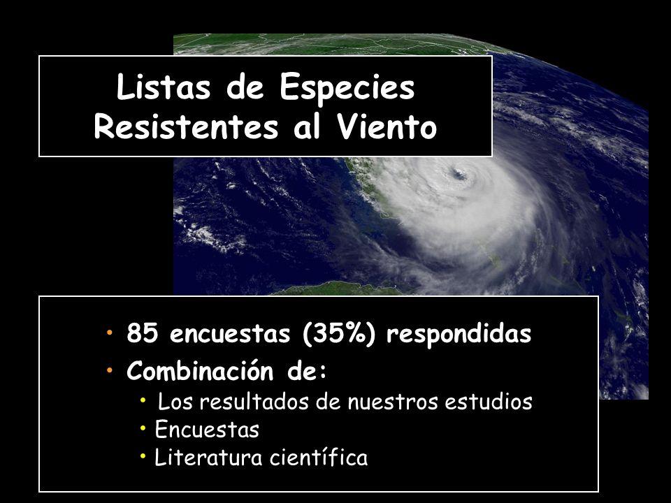85 encuestas (35%) respondidas Combinación de: Los resultados de nuestros estudios Encuestas Literatura científica Listas de Especies Resistentes al Viento