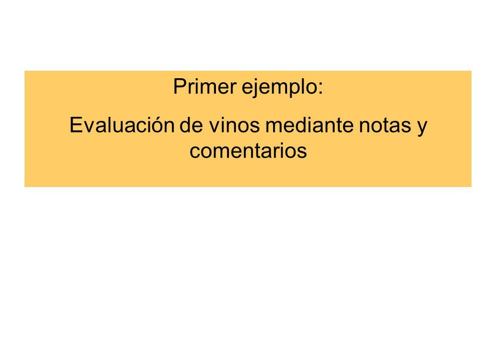 Primer ejemplo: Evaluación de vinos mediante notas y comentarios