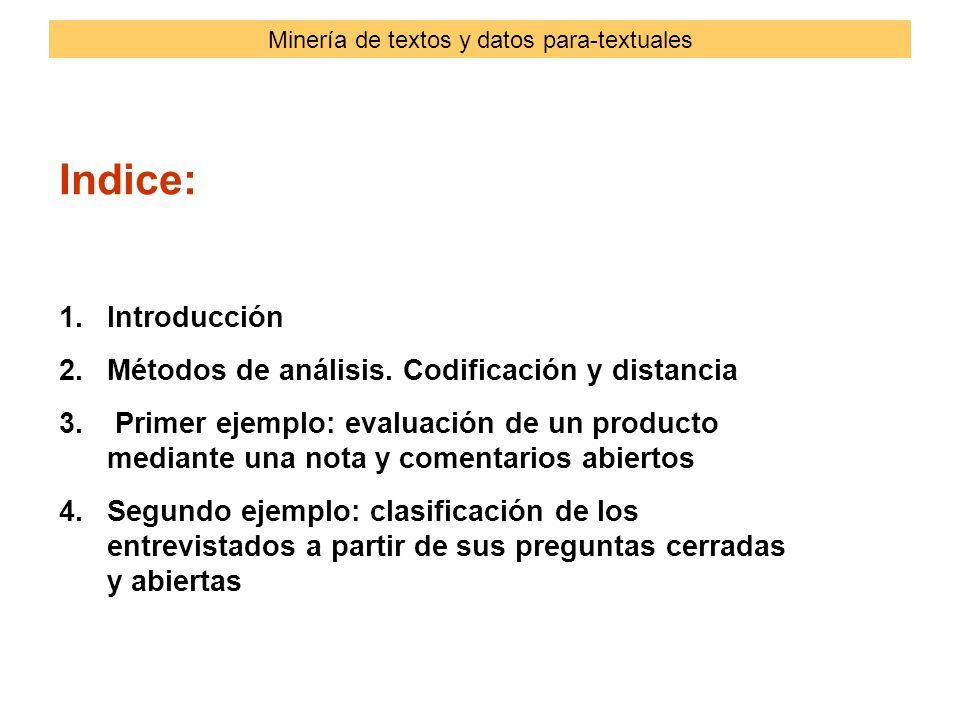 Indice: 1.Introducción 2.Métodos de análisis. Codificación y distancia 3.