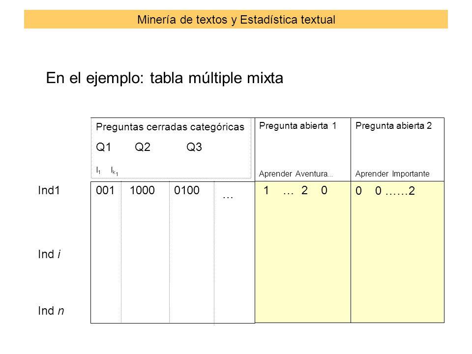Preguntas cerradas categóricas Q1 Q2 Q3 I 1 I k 1 Pregunta abierta 1 Aprender Aventura … Pregunta abierta 2 Aprender Importante Ind1 Ind i Ind n 001100001001 … 2 0 0 0 ……2 … En el ejemplo: tabla múltiple mixta Minería de textos y Estadística textual