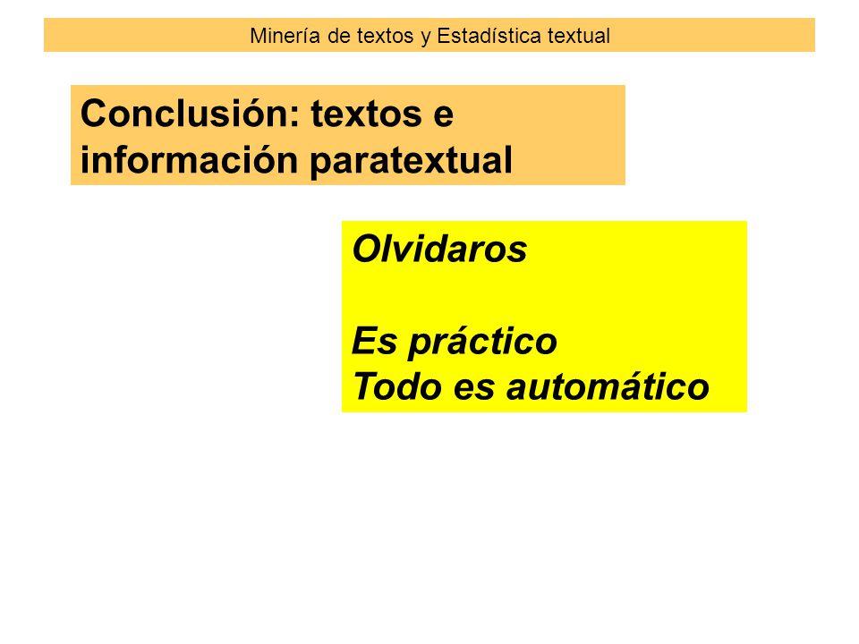 Conclusión: textos e información paratextual Olvidaros Es práctico Todo es automático Minería de textos y Estadística textual