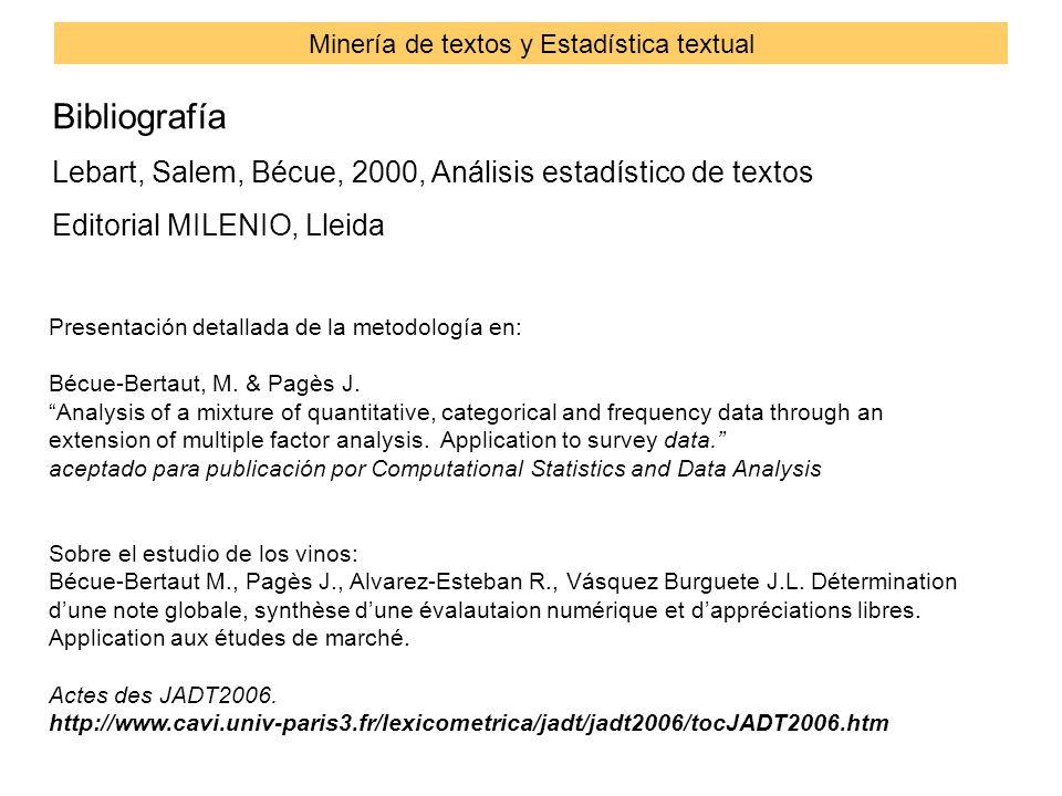 Bibliografía Lebart, Salem, Bécue, 2000, Análisis estadístico de textos Editorial MILENIO, Lleida Minería de textos y Estadística textual Presentación detallada de la metodología en: Bécue-Bertaut, M.