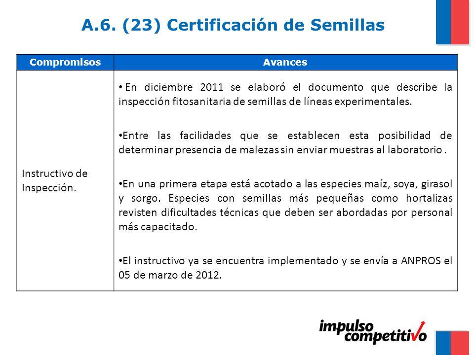 A.6. (23) Certificación de Semillas CompromisosAvances Instructivo de Inspección.