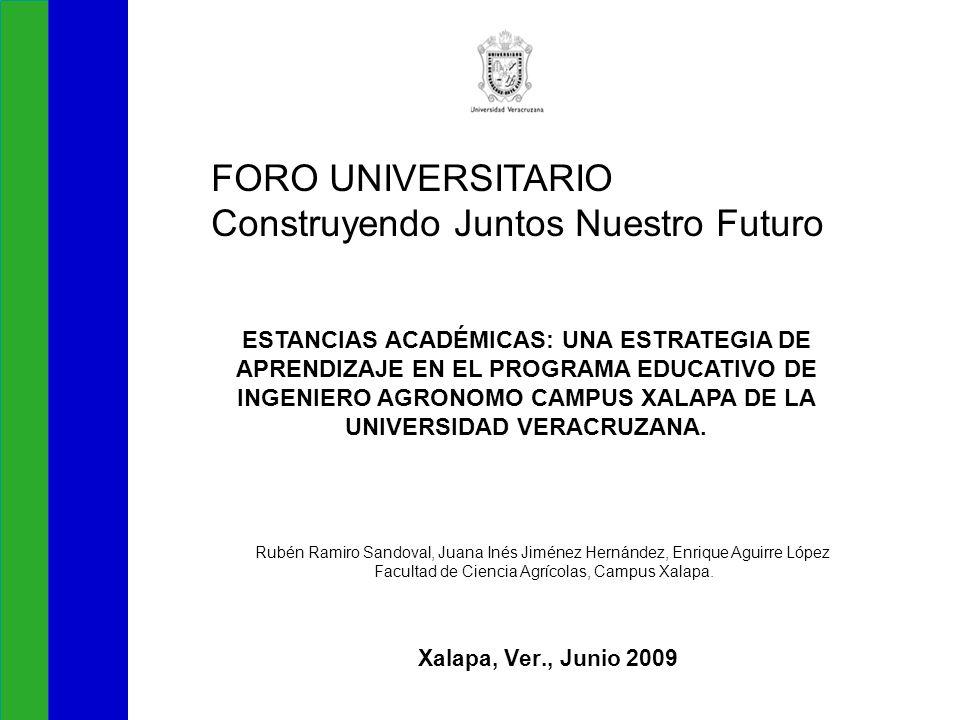 Xalapa, Ver., Junio 2009 FORO UNIVERSITARIO Construyendo Juntos Nuestro Futuro ESTANCIAS ACADÉMICAS: UNA ESTRATEGIA DE APRENDIZAJE EN EL PROGRAMA EDUCATIVO DE INGENIERO AGRONOMO CAMPUS XALAPA DE LA UNIVERSIDAD VERACRUZANA.