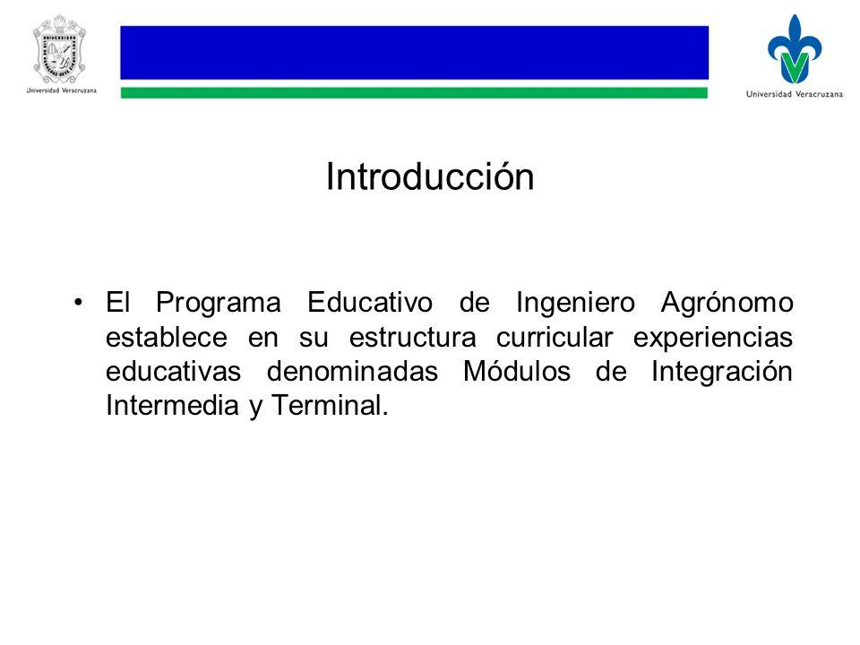 Introducción El Programa Educativo de Ingeniero Agrónomo establece en su estructura curricular experiencias educativas denominadas Módulos de Integración Intermedia y Terminal.