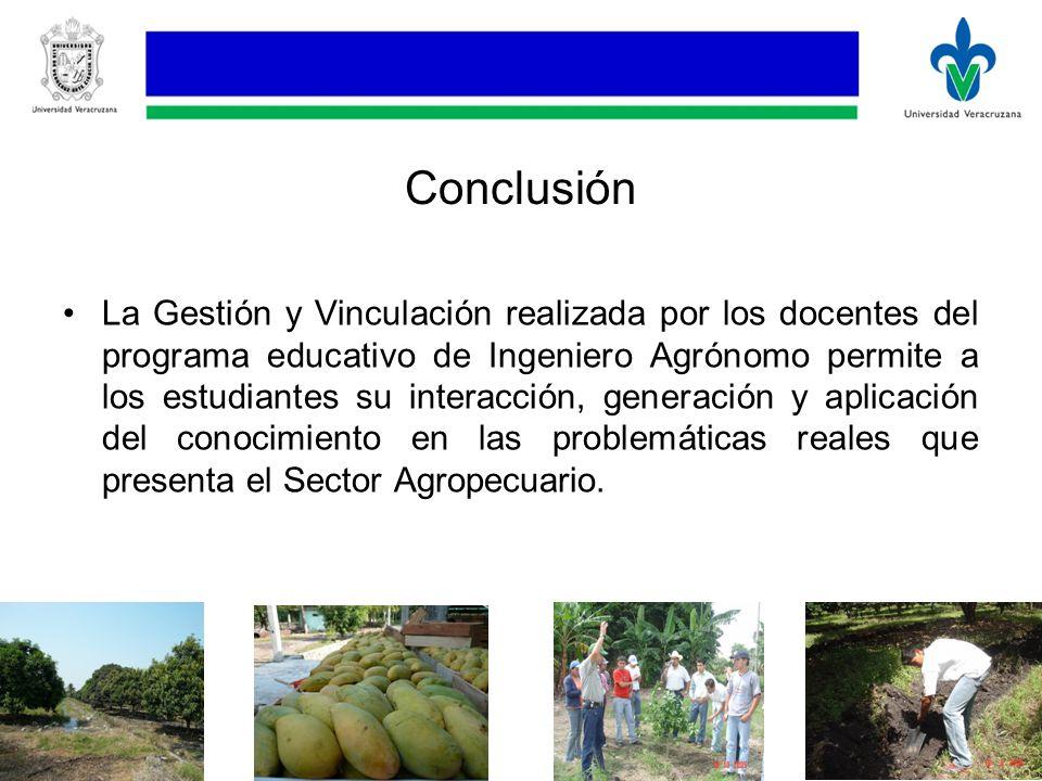 Conclusión La Gestión y Vinculación realizada por los docentes del programa educativo de Ingeniero Agrónomo permite a los estudiantes su interacción, generación y aplicación del conocimiento en las problemáticas reales que presenta el Sector Agropecuario.