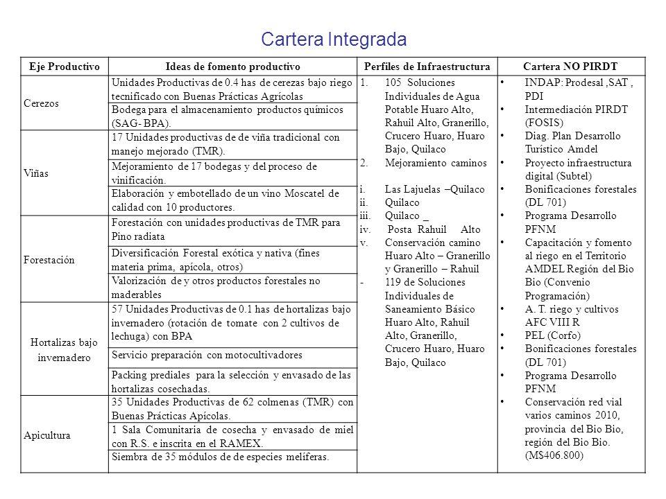 Eje ProductivoIdeas de fomento productivoPerfiles de InfraestructuraCartera NO PIRDT Cerezos Unidades Productivas de 0.4 has de cerezas bajo riego tecnificado con Buenas Prácticas Agrícolas 1.105 Soluciones Individuales de Agua Potable Huaro Alto, Rahuil Alto, Granerillo, Crucero Huaro, Huaro Bajo, Quilaco 2.Mejoramiento caminos i.Las Lajuelas –Quilaco ii.Quilaco iii.Quilaco _ iv.