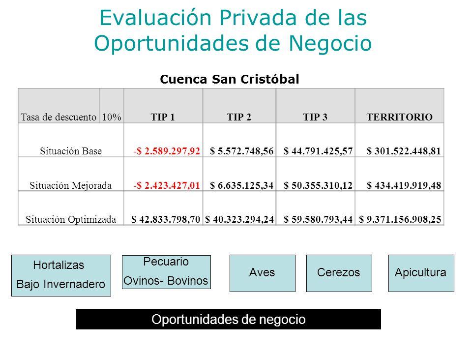 Evaluación Privada de las Oportunidades de Negocio Cuenca San Cristóbal Oportunidades de negocio Hortalizas Bajo Invernadero Pecuario Ovinos- Bovinos Apicultura Tasa de descuento10%TIP 1TIP 2TIP 3TERRITORIO Situación Base-$ 2.589.297,92$ 5.572.748,56$ 44.791.425,57$ 301.522.448,81 Situación Mejorada-$ 2.423.427,01$ 6.635.125,34$ 50.355.310,12$ 434.419.919,48 Situación Optimizada$ 42.833.798,70$ 40.323.294,24$ 59.580.793,44$ 9.371.156.908,25 AvesCerezos