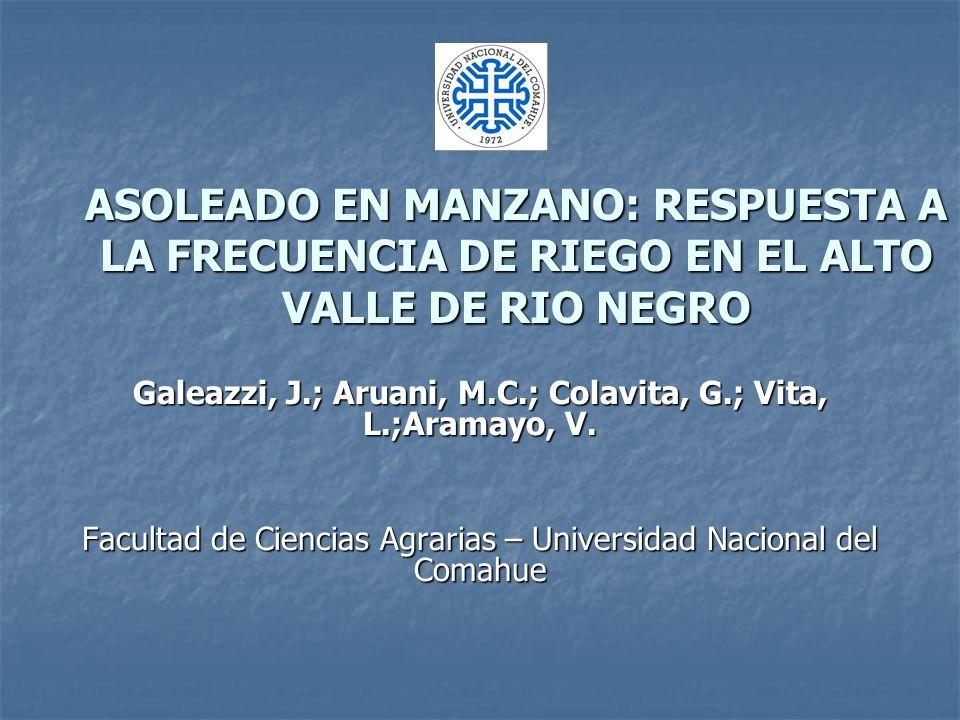 ASOLEADO EN MANZANO: RESPUESTA A LA FRECUENCIA DE RIEGO EN EL ALTO VALLE DE RIO NEGRO Galeazzi, J.; Aruani, M.C.; Colavita, G.; Vita, L.;Aramayo, V.