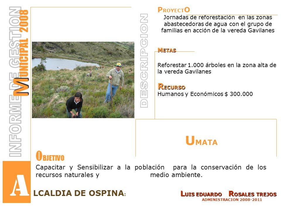 P ROYECT O Jornadas de reforestación en las zonas abastecedoras de agua con el grupo de familias en acción de la vereda Gavilanes M ETAS Reforestar 1.000 árboles en la zona alta de la vereda Gavilanes R ECURSO Humanos y Económicos $ 300.000 L UIS EDUARDO R OSALES TREJOS LCALDIA DE OSPINA : L UIS EDUARDO R OSALES TREJOS ADMINISTRACION 2008-2011 M M UNICIPAL 2008 Capacitar y Sensibilizar a la población para la conservación de los recursos naturales y medio ambiente.