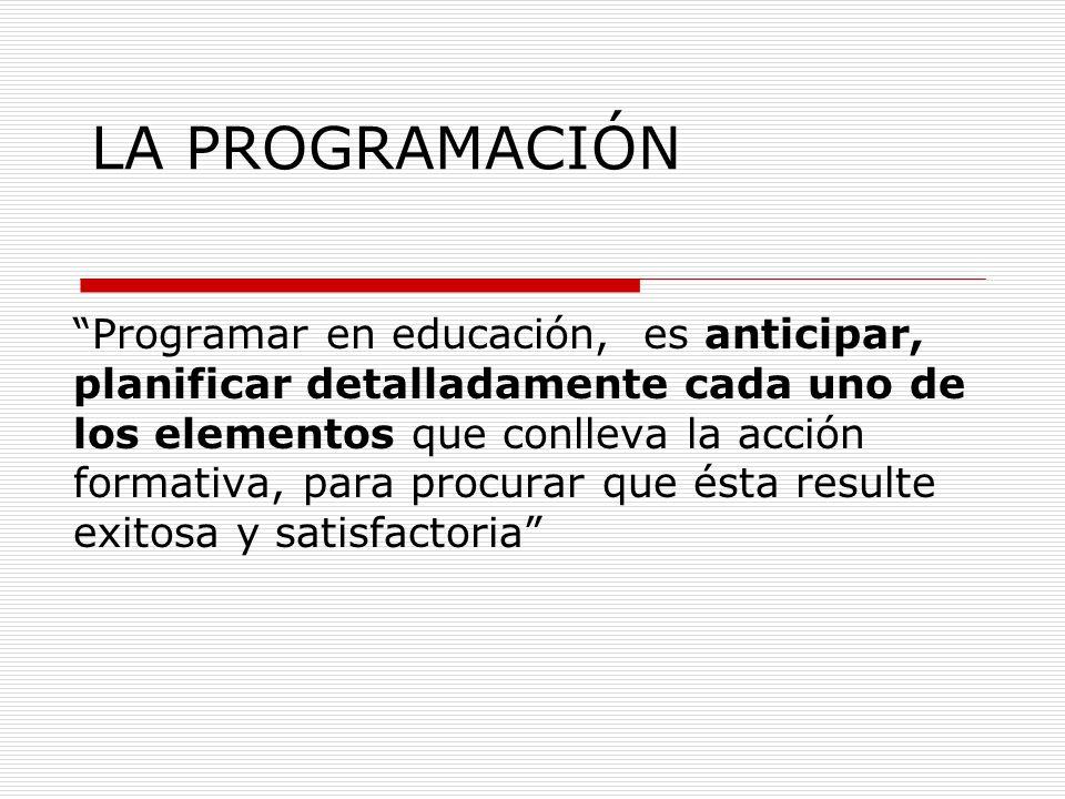 LA PROGRAMACIÓN Programar en educación, es anticipar, planificar detalladamente cada uno de los elementos que conlleva la acción formativa, para procurar que ésta resulte exitosa y satisfactoria