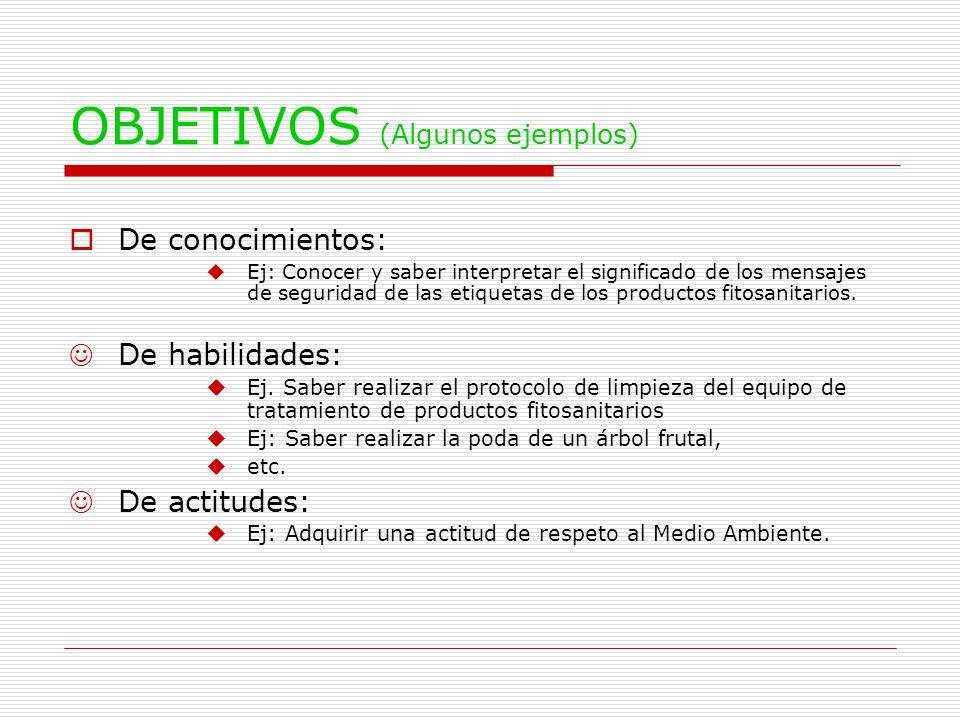 OBJETIVOS (Algunos ejemplos)  De conocimientos: uEj: Conocer y saber interpretar el significado de los mensajes de seguridad de las etiquetas de los productos fitosanitarios.