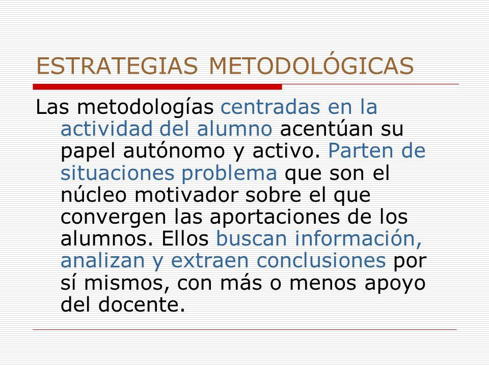 ESTRATEGIAS METODOLÓGICAS Las metodologías centradas en la actividad del alumno acentúan su papel autónomo y activo.