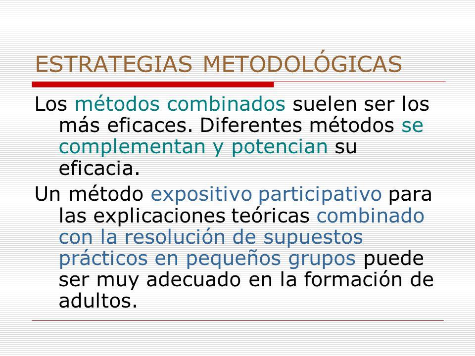 ESTRATEGIAS METODOLÓGICAS Los métodos combinados suelen ser los más eficaces.