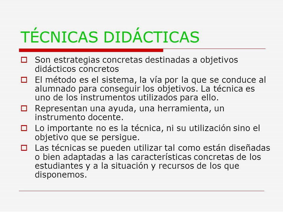 TÉCNICAS DIDÁCTICAS  Son estrategias concretas destinadas a objetivos didácticos concretos  El método es el sistema, la vía por la que se conduce al alumnado para conseguir los objetivos.