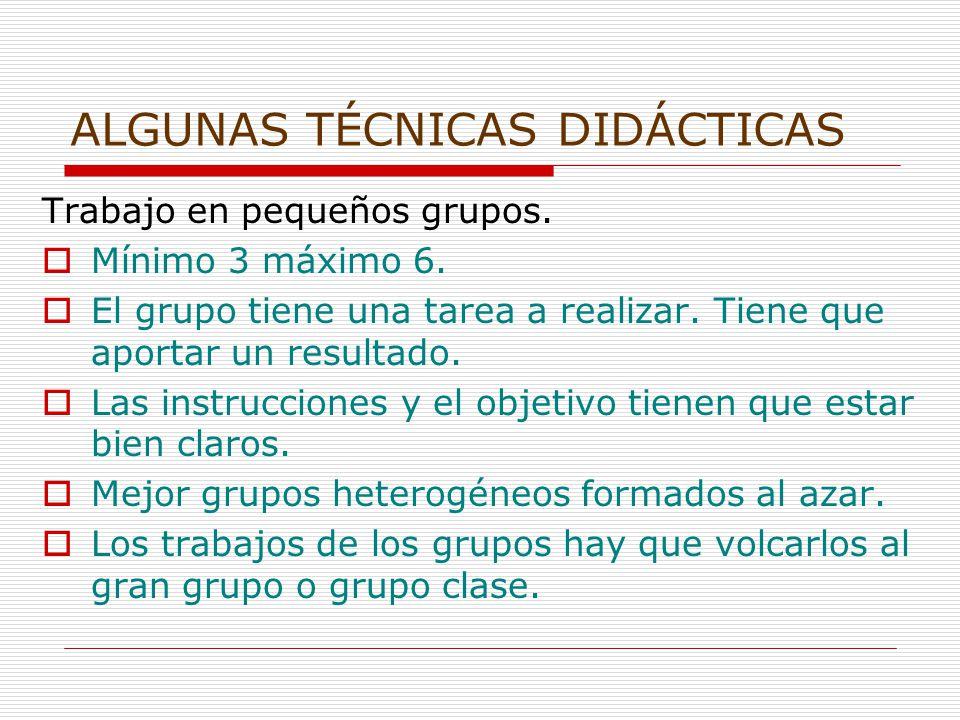 ALGUNAS TÉCNICAS DIDÁCTICAS Trabajo en pequeños grupos.