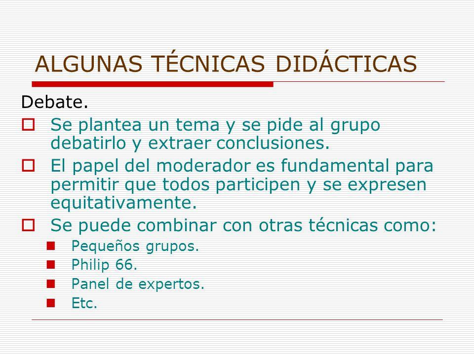 ALGUNAS TÉCNICAS DIDÁCTICAS Debate.
