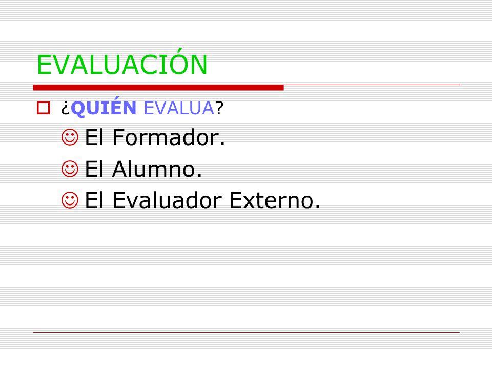 EVALUACIÓN  ¿QUIÉN EVALUA JEl Formador. JEl Alumno. JEl Evaluador Externo.