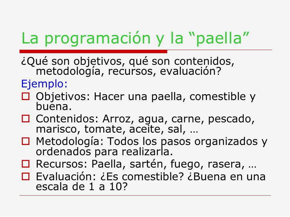 La programación y la paella ¿Qué son objetivos, qué son contenidos, metodología, recursos, evaluación.