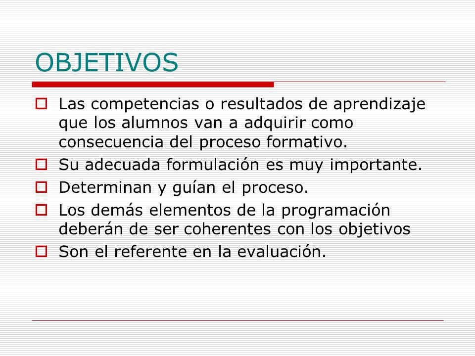OBJETIVOS  Las competencias o resultados de aprendizaje que los alumnos van a adquirir como consecuencia del proceso formativo.