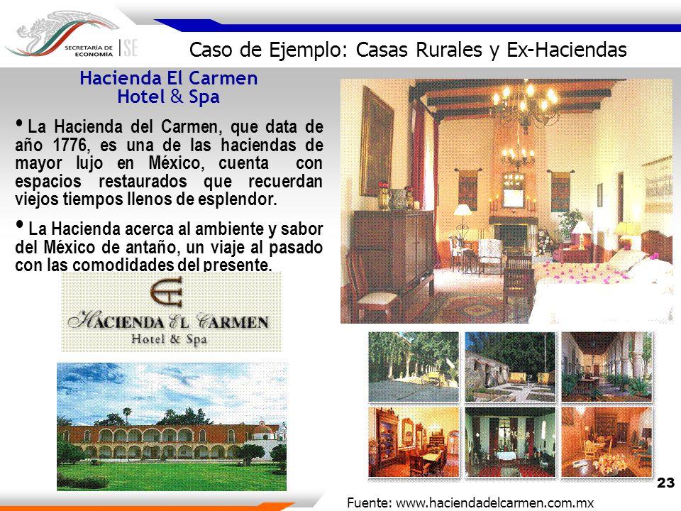 23 Hacienda El Carmen Hotel & Spa La Hacienda del Carmen, que data de año 1776, es una de las haciendas de mayor lujo en México, cuenta con espacios restaurados que recuerdan viejos tiempos llenos de esplendor.