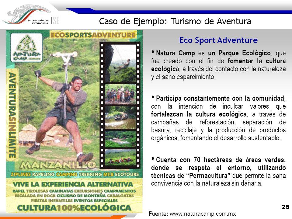 25 Eco Sport Adventure Natura Camp es un Parque Ecológico, que fue creado con el fin de fomentar la cultura ecológica, a través del contacto con la naturaleza y el sano esparcimiento.