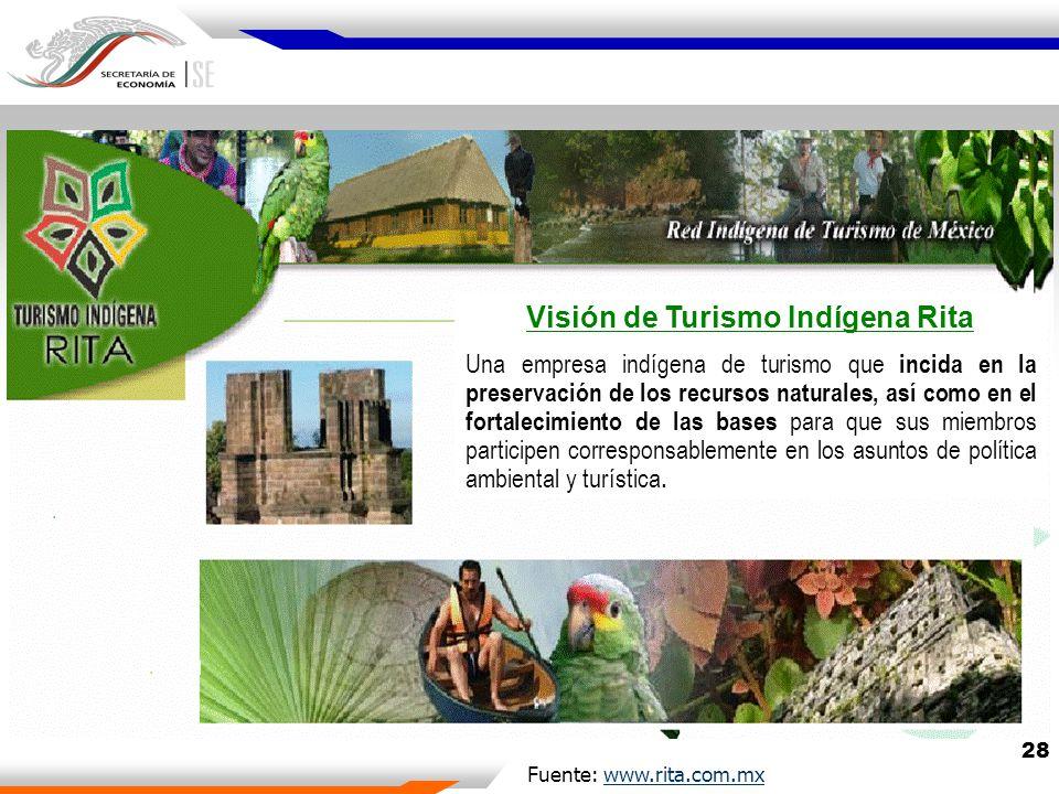 28 Fuente: www.rita.com.mxwww.rita.com.mx Visión de Turismo Indígena Rita Una empresa indígena de turismo que incida en la preservación de los recursos naturales, así como en el fortalecimiento de las bases para que sus miembros participen corresponsablemente en los asuntos de política ambiental y turística.
