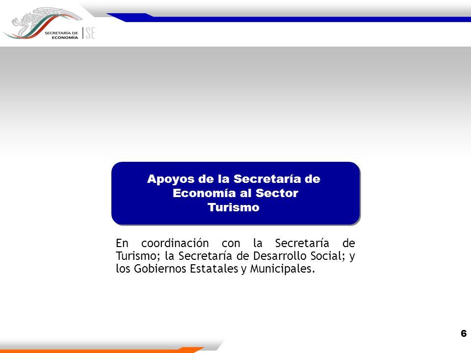 6 Apoyos de la Secretaría de Economía al Sector Turismo Apoyos de la Secretaría de Economía al Sector Turismo En coordinación con la Secretaría de Turismo; la Secretaría de Desarrollo Social; y los Gobiernos Estatales y Municipales.