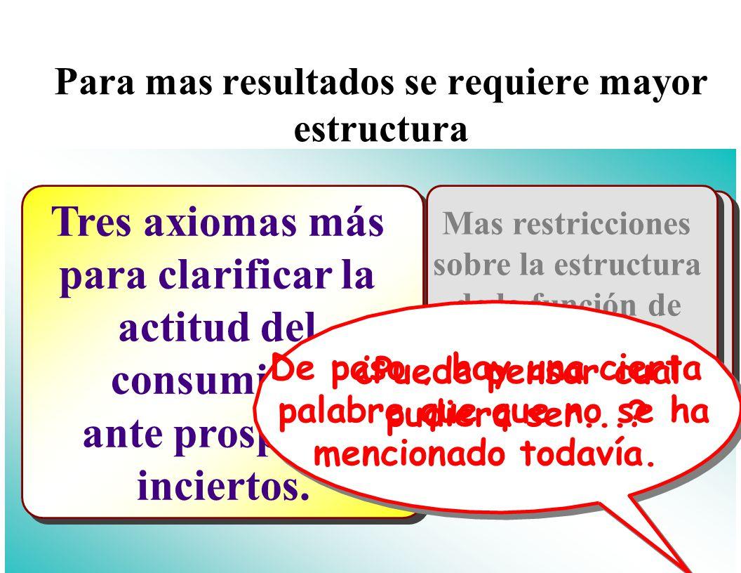 El Consumidor Oportunidades y Preferencias Oportunidades y Preferencias La Utilidad esperada Aversión al riesgo Optimización y estática comparada Agregación Bienestar Modelando la incertidumbre Modelando la incertidumbre Aversión al riesgo Lo básico (nuevamente) Modelando la incertidumbre Modelando la incertidumbre