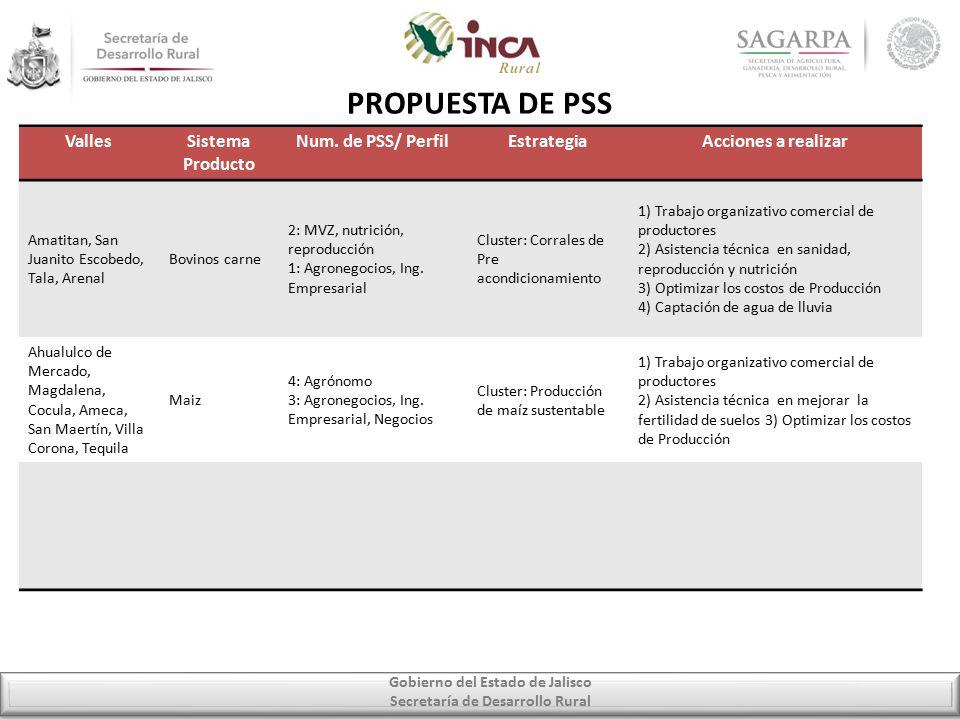 Gobierno del Estado de Jalisco Secretaría de Desarrollo Rural PROPUESTA DE PSS VallesSistema Producto Num.