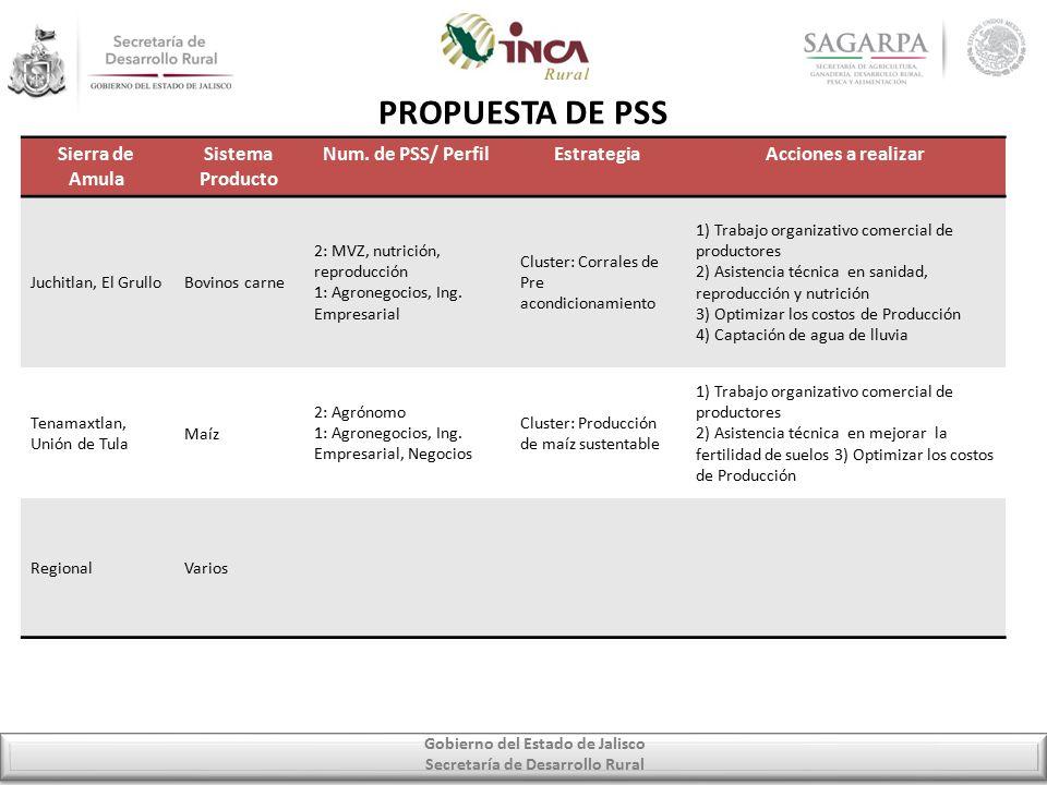 Gobierno del Estado de Jalisco Secretaría de Desarrollo Rural PROPUESTA DE PSS Sierra de Amula Sistema Producto Num.