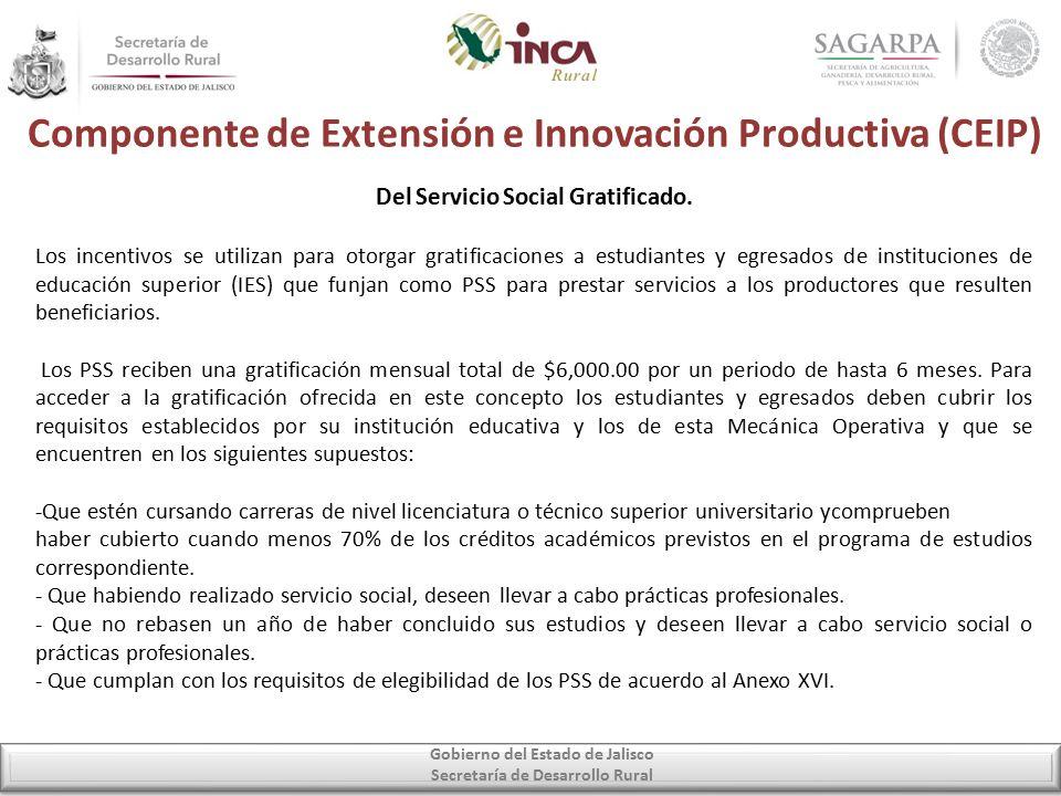Componente de Extensión e Innovación Productiva (CEIP) Gobierno del Estado de Jalisco Secretaría de Desarrollo Rural Del Servicio Social Gratificado.