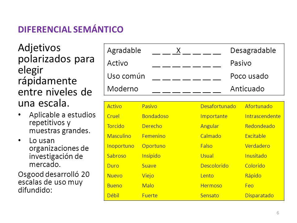 DIFERENCIAL SEMÁNTICO Adjetivos polarizados para elegir rápidamente entre niveles de una escala.